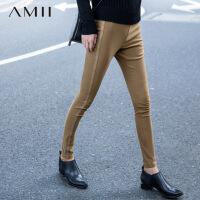 Amii[极简主义]春新品外露修身瘦腿弹力打底裤女11571371.