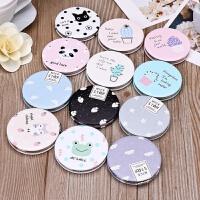 韩国可爱小清新随身化妆镜 迷你便携折叠简约PU双面圆形小镜子