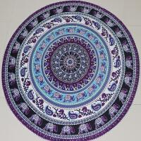 紫色大象曼陀罗圆形挂毯涤纶印花欧美沙滩旅行沙滩巾