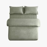 当当优品色织四件套 纯棉日式水洗磨毛床品 双人加大1.8米床 灰绿