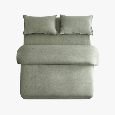 当当优品色织四件套 纯棉日式水洗磨毛床品 双人加大1.8米床 灰绿当当自营 MUJI制造商代工