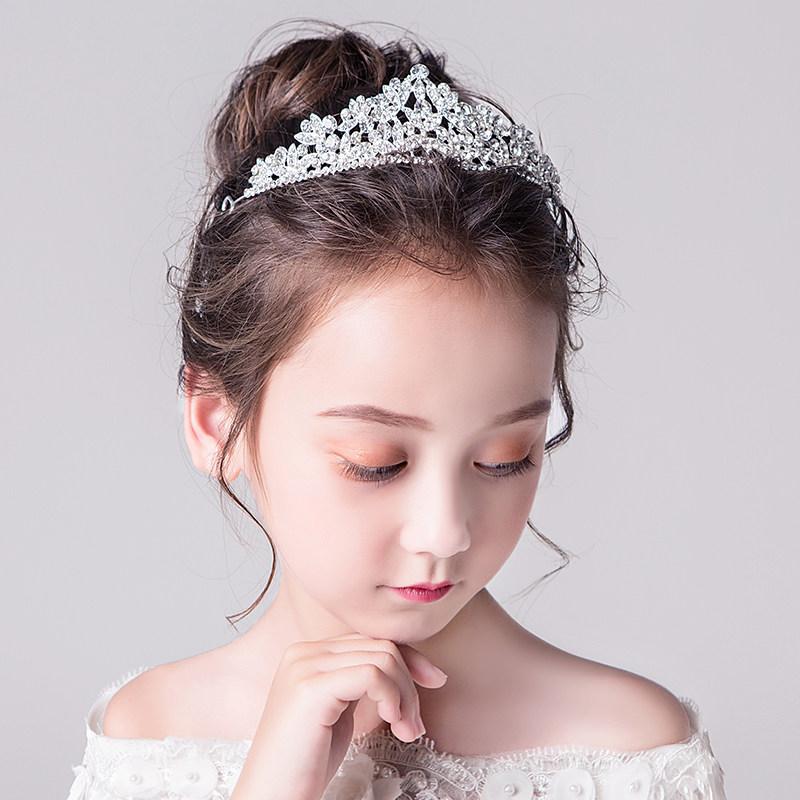 皇冠头饰儿童头饰小公主生日婚礼演出配饰童话皇冠发饰女童发箍装饰大王冠MYZQ61 白色