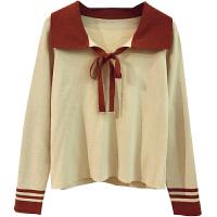 甜美学院风娃娃领针织衫女上衣冬季韩版系带显瘦拼色套头打底毛衣 均码