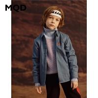 MQD童装男童牛仔衬衫2019冬新款中大童加绒加厚衬衣儿童卡通上衣