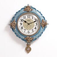 欧式挂钟客厅装饰个性创意时尚大气挂表卧室艺术时钟家用挂墙钟表 蓝色