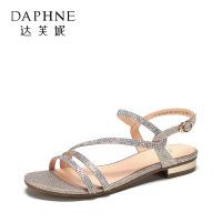Daphne/达芙妮旗下鞋柜女鞋夏季平跟水钻银色平底凉鞋女鞋