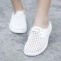 洞洞鞋夏季居家情侣浴室防滑半包透气网拖鞋