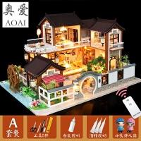 diy小屋手工制作小房子模型拼装别墅中国风古代建筑生日礼物女生