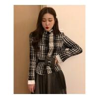 套装女秋冬新款格子毛呢西装短外套高腰不规则网纱半身裙