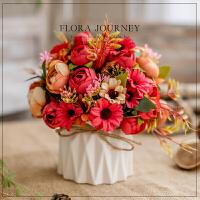假花仿真花套装欧式绢花摆件客厅装饰花室内干花草花束塑料桌花盆景套装