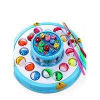 儿童钓鱼玩具女宝宝1-3-6周岁男孩子2女孩4小孩5男童开发智力男孩儿童宝宝玩具 蓝色 双层钓鱼台(带灯光音乐)电池版
