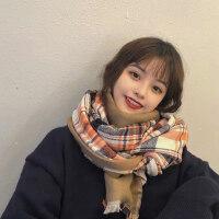 格子围巾女秋冬韩版学生长围脖加厚保暖小香风拼色披肩冬季百搭