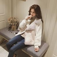 皮毛一体羊羔毛外套女短款2018冬季新款麂皮绒机车毛绒绒棉衣夹克
