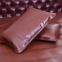 夏季头层水牛皮枕套凉席枕席单人真皮枕头套床上用品定制 棕色【单个】 47cmx74cm
