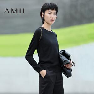 【品牌团 1件7折/2件5折】AMII[极简主义]秋新款修身显瘦圆领撞色针织毛衣女薄11682377