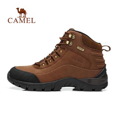 camel骆驼户外徒步鞋 秋冬男士新款高帮系带磨砂皮减震户外鞋子
