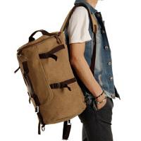 复古帆布男士背包 大容量韩版男包双肩包潮 户外登山旅行包桶包