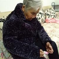 冬季睡衣老年人加厚深色花妈妈冬天保暖棉袄法兰绒女人套装家居服