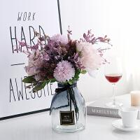 牡丹花假花 粉紫红色妖姬绣球西洋牡丹仿真假绢塑料花灰色玻璃花瓶花艺浪漫A 灰色 花瓶+配花套装