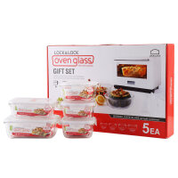 乐扣乐扣格拉斯玻璃保鲜盒5件套装饭盒微波炉冰箱收纳 LLG445S001 透明