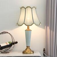 【品牌特惠】台灯陶瓷灯美式简约台灯北欧结婚卧室床头灯中欧式公主小台灯