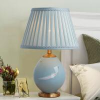 美式中式全铜陶瓷台灯客厅卧室床头美式乡村手绘装饰灯具 家居装饰摆件 创意台灯