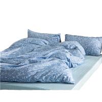 花卉文艺风复古清新全棉床单四件套纯棉床笠床上用品三件套宿舍定制 青花