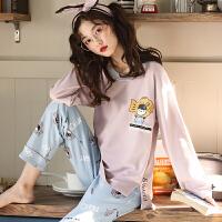 睡衣女秋天长袖薄款春秋季韩版可外穿可爱清新学生套装家居服
