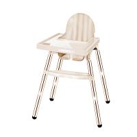 宝宝餐椅儿童便携式吃饭座椅婴儿多功能饭桌凳小孩学坐餐椅子餐桌 铝合金款米色+米色皮垫 铝合金款+杯托