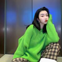 兔毛慵懒风套头毛衣女加厚2018新款韩版宽松绿色上衣 绿色