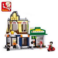 兼容乐高 快乐小鲁班积木城市系列积木别墅商店街景房子拼装玩具