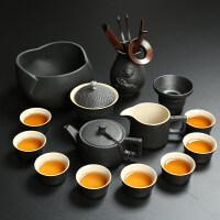 【新品热卖】日式黑陶茶具套装家用陶瓷整套功夫茶具复古办公室泡茶壶盖碗茶杯