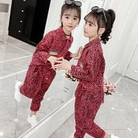 2019春秋季新款韩版中大童童装儿童豹纹两件套女童秋装套装