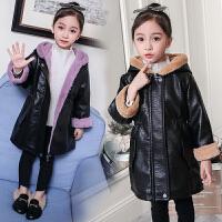 女童外套秋冬装加绒加厚保暖2018新款韩版pu皮衣儿童洋气夹克大童