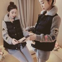 韩国冬新款学院风短款羊羔毛加厚翻领小棉衣女装外套显瘦 灰色 S