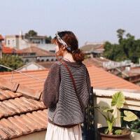 学生毛线马甲女针织背心秋冬文艺森女系复古学院风日系女装宽松 米咖色条纹 均码
