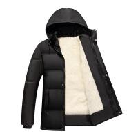 新款男士男装中老年棉衣男冬装外套加厚款毛内胆爸爸保暖棉衣 白毛内胆 L建议体重90-120斤