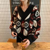 2019春季季韩版复古宽松短款V领套头毛衣女显瘦长袖针织衫外套