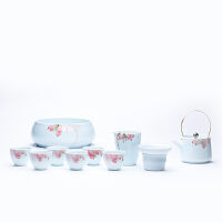 【新品】龙泉青瓷手绘茶壶景德镇手工陶瓷提梁壶过滤泡茶功夫茶具套装茶杯