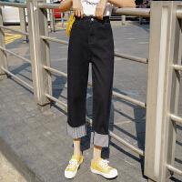 【下单立减120元/仅限今日】港风2019新款女装宽松时尚个性黑色牛仔裤阔腿裤3157#