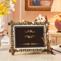 【好货】珐琅彩相框摆台婚纱照艺术照金属相片保护框个性创意欧式轻奢摆件 兰之恋 相框 7寸