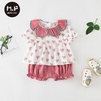 女宝宝夏季可爱婴儿包屁衣服外出服婴儿夏装套装薄款公主裙