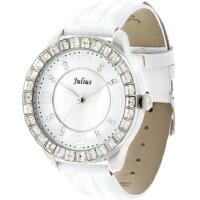 2018年新款 Julius/聚利时 鳄鱼皮纹表带璀璨水晶女士手表 白色 JA-379