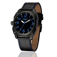 2018新款 EYKI艾奇 军表丛林之战 休闲运动表 皮带手表 男表 黑盘蓝字 8506
