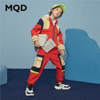 MQD童装男童工装套装2020冬装新款儿童连帽套装中大童保暖两件套
