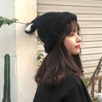 帽子女冬天韩版潮可爱百搭猫耳朵加厚保暖学生针织帽网红毛线帽
