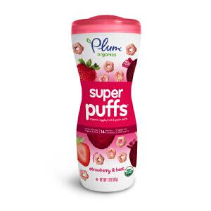 plum/谷百 草莓甜菜星星小麦圈 42g宝宝辅食泡芙饼干