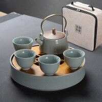 【好店】汝窑功夫茶具套装汝瓷整套旅行茶具茶壶茶杯办公家用陶瓷茶盘 7件