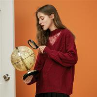 【2件3折】ONE MORE2019秋冬新款蕾丝拼接毛衣复古宽松针织衫女