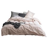 四件套全棉纯棉床单被套床上is简约格子家居用品文艺网红床品定制
